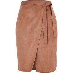 Brown faux suede wrap skirt - midi skirts - skirts - women