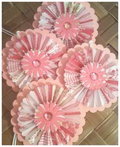 Paper Rosettes Lacy Cotton Candy Raspberry Pink by alohacookiegirl