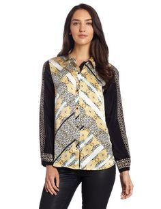 Twelfth Street by Cynthia Vincent Women's Fabric Blocking Blouse, Ornate Scarf, Medium