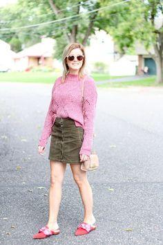 Olive Pink | The Knotted Chain Denim Skirt, Chain, Skirts, Pink, Fashion, Moda, Fashion Styles, Denim Skirts, Skirt