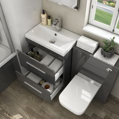 Buy The Grey Patello basin and WC combination Bathroom Furniture Set. Acrylic Mirror Finish For Sale, Speedy Delivery Buy Now Grey Furniture Sets, Small Bathroom Furniture, Small Grey Bathrooms, Small Bathroom Layout, Toilet And Sink Unit, Sink Vanity Unit, Toilet Vanity, Bathroom Toilets, Bathroom Wall