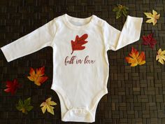 Baby girl Fall in Love long sleeve onesies bronze by tailoredbyTok