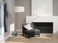 Simple fireplace in a neutral room Simple Fireplace, Living Room With Fireplace, Living Rooms, Cool Furniture, Furniture Design, White Floor Lamp, Floor Standing Lamps, Black And White Interior, Contemporary Floor Lamps