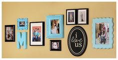 "love the frames, color, ""I Love Us"" wall plaque"