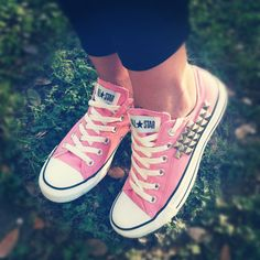 Studded Pink low top CONVERSE shoes by NewSpiritVintage on Etsy, $59.00