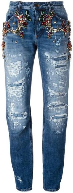 Dolce & Gabbana embellished ripped boyfriend jeans The Italian fashion house's signature luxury denim has been given a glamourous edge for Spring/Summer 2017 and these rhinestone ripped boyfriend jeans from Dolce & Gabbana are a stand-out favourite. In bl
