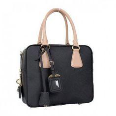 €171.00 Shop Prada Saffiano Leather Boston Bag Bl0757 Black Store Online