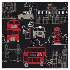 ACHICA | Simply Art Collection - Buses Metropolis, Metallic Canvas, 57x57x3cm £20