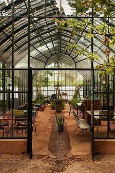 garden design, Babylon Greenhouse Design With Indoor Furniture: awesome greenhouse garden design