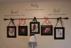 like the hanging picture idea....with a picture of each of my children & have their name above it using wall decals