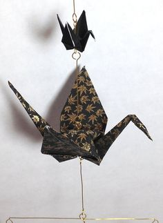 Origami Mobile for Men. Rich Black & Gold by FlyingCraneOrigami