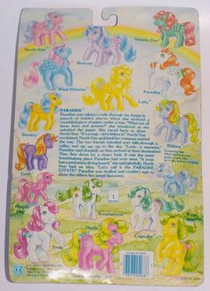 Generation One G1 vintage 1980's My Little Pony So Soft Ponies set 1 Paradise Pegsus with second wave card by seller serena151. #mlpmib #mylittlepony #g1mlp #sosoftpony