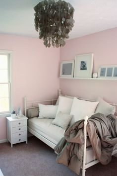 spare room idea except not pink walls. Already have a room with pink walls, haha, but love the day bed and shelf above.