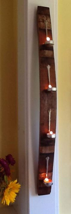 Reclaimed Wine Barrel Stave  Spoon Candle Holder by SparkSomeArt, $65.00