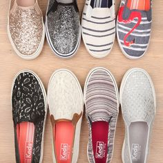 Keds slip-on sneakers: elegant ontwerp en leuke glitters, streepjes of kant die jouw vrouwelijkheid benadrukken