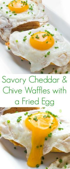 These delicious savory waffles are filled with sharp cheddar and minced chives then topped with a perfectly fried egg.