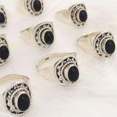 Dahlia Black Onyx & Sterling Silver Ring – Druzy Dreams
