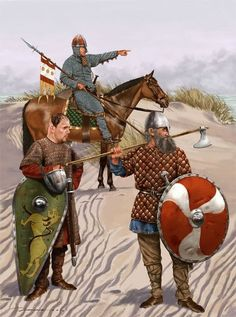 Viking warriors carrying their weapons as the Viking sword