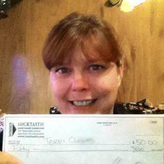 "Terri C is a Lucktastic CASH winner!    ""Thank you, I'm 50 dollars richer today. I LOVE Lucktastic!!!!""    -Terri C, Bremen KY"