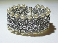 Byzantine variation cuff style chainmaille by TheArmorersWife, $75.00