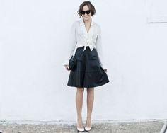over the undies: { versioning } black skirt / white shirt