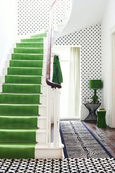Stylish Stairwells, polka dot wallpaper, emerald green runner, stair runners, stylish entryway, kate spade entryway, kate spade inspired decor