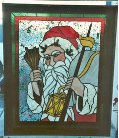 Father Christmas by Patricia Denny Stained Glass Projects, Stained Glass Patterns, Christmas Themes, Christmas Holidays, Xmas, Glass Room, Glass Art, Father Christmas, White Christmas