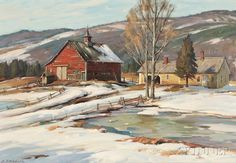 """""""Signs of Spring,"""" A.T. Hibbard, oil on canvas, 22 1/8 x 32"""", private collection."""