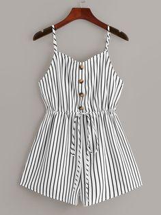 Half Placket Drawstring Waist Striped Cami Romper | ROMWE