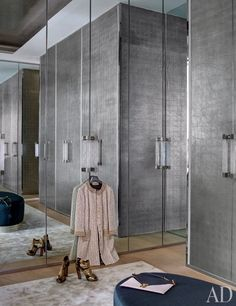 The master bedroom's closet, customized by Sultana, has palladium-leaf door   archdigest.com