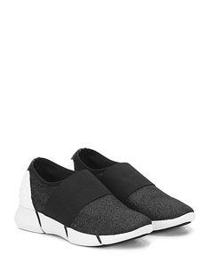 ELENA IACHI - Sneakers - Donna - Sneaker in tessuto glitterato con fascia elastica su collo piede ed inserto in gomma borchiata su retro. Suola in gomma, tacco 35, platform 20 con battuta 15. - NERO