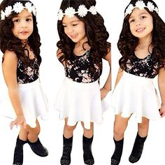 Amazon.com: Baby Girls T-shirt Tops+Floral Short Skirt, Franterd Outfit Clothes Set: Sports & Outdoors