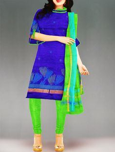 Shop online designer pure uppada silk pattu punjabi suit at unnatiislks.com Blue and parrot green color unstitched Uppada pure silk salwar kameez with matching dupatta.This dress materials has got all over blue,green floral thread weaving along with zari border kameez.And it has parrot green silk plain salwar with zari border dupatta.It is perfect for wedding and party wear. To purchase online uppada pure silk salwar kameez please visit our site http://www.unnatisilks.com