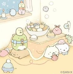 Sumikko Gurashi Kotatsu - Aww the snowflake is smiling back. Japanese Drawings, Japanese Cartoon, Cute Japanese, Kawaii Doodles, Kawaii Art, Kawaii Drawings, Cute Drawings, Sumiko Gurashi, Kawaii Illustration