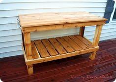 DIY potting bench - cedar & similar to Abbott Island Buffet from PB (no hutch or metal top).