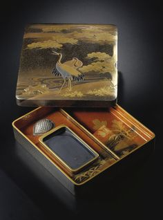 Lacquer writing implement box and cover (suzuribako) Late 19th century