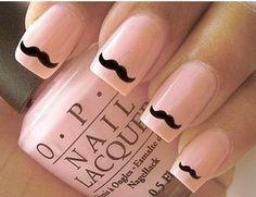 #cutie mustache nail #nail art #pink #cute