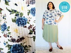 CLEARANCE  Plus Size  Vintage Floral Cuffed Sleeve by TheCurvyElle