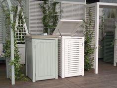 A tidy and attractive way to hide what is often the most unsightly home and garden necessity. Bespoke handmade, hand finished and stylishly designed. Bin Storage Ideas Wheelie, Storage Bins, Garbage Storage, Storage Basket, Storage Solutions, Outside Storage, Outdoor Storage, Bin Shed, Recycling Storage