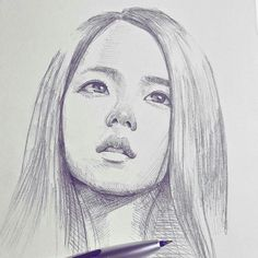 realistic drawings, portrait drawing, woman with straight hair, face - . Pink Drawing, Girl Drawing Sketches, Art Drawings Sketches Simple, Pencil Art Drawings, Realistic Drawings, Face Drawings, Drawing Hair, Kpop Drawings, Celebrity Drawings