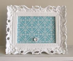 Ornate Picture Frame Aqua Teal Wedding Decor by ShugabeeLane