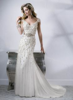 Glamorous, old Hollywood wedding dress. Sleek draping, gorgeous beading, beaded belt for the final vintage flair. Sottero and Midgley bridal gown Bellevue Gatsby Wedding Dress, 1920s Wedding, Wedding Dresses 2014, Wedding Dress Sizes, Designer Wedding Dresses, Wedding Gowns, Vestido Art Deco, Sottero And Midgley Wedding Dresses, Sottero Midgley