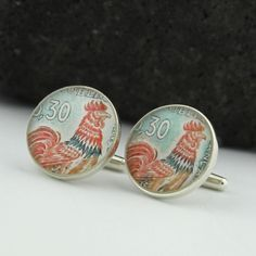 Rooster Sterling Silver Cufflinks - Vintage French Postage Stamp Cufflinks (Cuff Links)