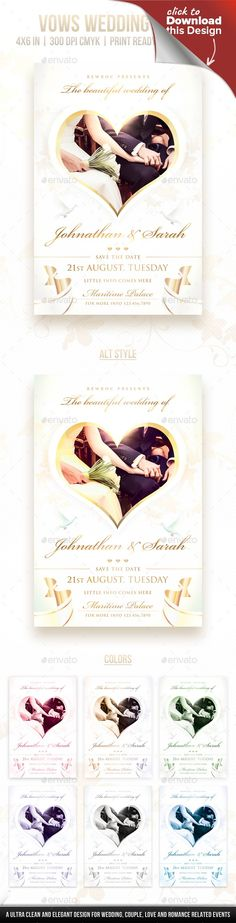 advertising, black, bride, ceremony, club, collection, dove, fashion, floral, flowers, gold, golden, groom, knots, love, man, marriage, match, modern, movie, poster, presentation, print, ring, romantic, show, template, wedding, white, woman Vows Wedding Flyer By Rewroc InteractiveA beautiful, ultra clean and elegant flyer designed professionally for Wedding Events, Ring Ceremony or anything that's related to relationship, love, romance, couples, etc. You can easily remove the image from…