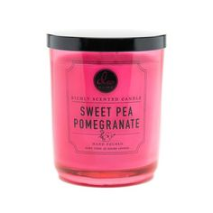 Sweet Pea Pomegranate double wick candle in a glass container. Approximately 15 oz with a 56 hour burn time. Sweet-Pea-Pomegranate Candle by DW Home. Home & Gifts - Home Decor - Candles & Scents New York Scented Candles, Candle Jars, Candle Holders, Dw Home Candles, Sweet Pea Flowers, Quirky Home Decor, Home Scents, Glass Containers, Flower Containers