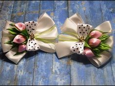 Резинки бантики из лент канзаши МК / hair clips ribbon kanzashi DIY - YouTube