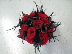 Black Magic Rose and Purple Calla Lily Bridal Bouquet with Feathers