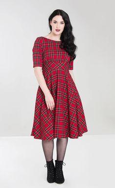 00f5111b465 Hell Bunny Plus Size Irvine Dress The stunning plus size vibrant red tartan  Irvine dress from