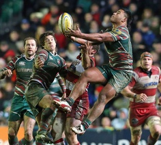 Manu Tuilagi jumps for a high ball | Rugby Union | Photo | Scrum.com
