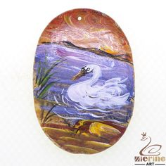 Pendant Hand Painted Swan Natural Gemstone bag Accessory ZL803400 #ZL #Pendant